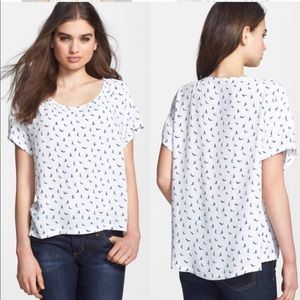 Soft Joie  Hi Low Pendra Tee In Porcelain